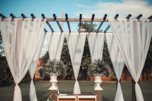 outdoor beach wedding grass landscape patio vacation cerimonial palm tress blossom flora wedding