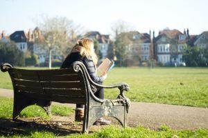 park bench winter reading morning sun