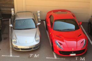 porsche ferrari monaco parking lot cars