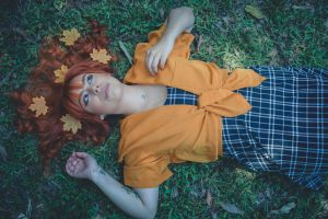 portrait photography forest orange color female model red hair