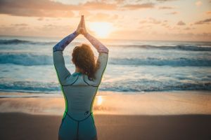 pose saltwater waves clouds beach sunrise lady relaxation sunset summer