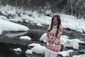 real snow sweater white siberia long person ethnicity look model