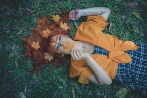 red hair portrait photography female model forest orange color