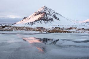 reflection mountain frozen lake