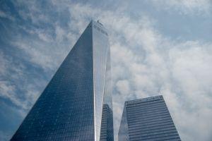 reflection new york sky skyscraper wtc blue clouds manhattan