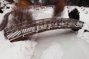 river lake winter cold frosty freezing snow frost road drone