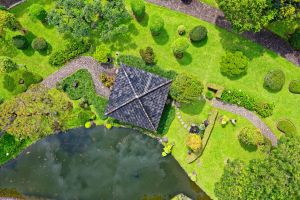 roof bird's eye view aerial photography garden beautiful aerial shot drone shot top view indonesia environment