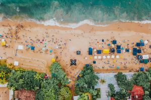 sea beach trees high angle shot landscape water seascape resort drone shot summer