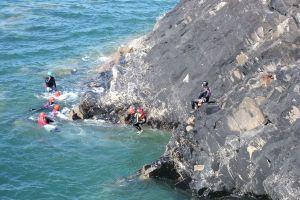 sea coasteering rocks