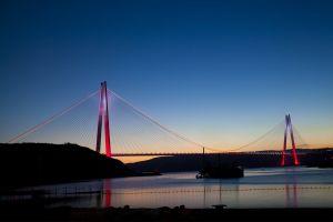 sea istanbul night lights bridge night