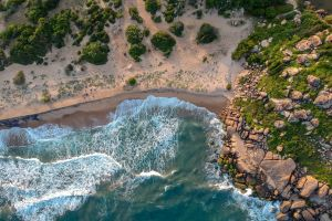 seashore scenic tourism beach high angle shot ocean sea rocks sri lanka nature