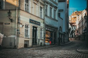 sky buildings old town people vintage love