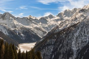 snow capped mountain italy winter landscape altitude outdoor fog lake vacation mountain lake alps ski