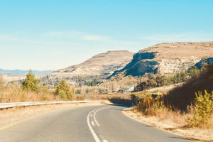 south africa clarens roadways africa mountains landscape orange iconic blue blue sky
