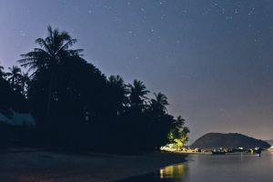 stars sea beach evening ocean seashore shore