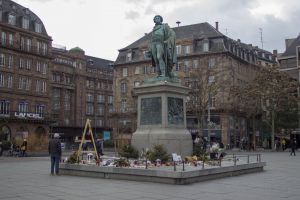 statue flowers square terrorist france attack