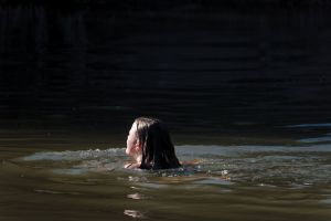 summer sunlight nature outdoor girl swimming contrast