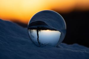 sunset lensball glass ball landscapes winter landscape