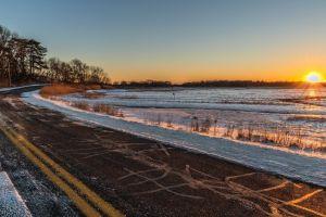 sunset sunrise winter road golden hour