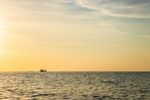 sunset tropical boat ocean marine