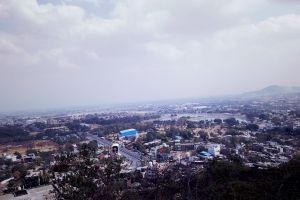 top view city daytime sky