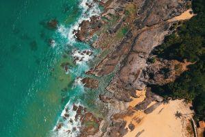 vacation bird's eye view beach coast landscape daylight sea nature waves environment