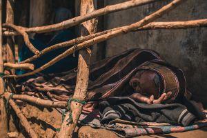 village shadow sleep poor hands wood lay man human rest