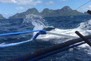 watercraft nature blue motion sailing ocean splash waves mountain speed