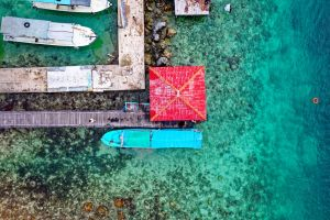 watercrafts bird's eye view aerial shot ocean from above boats dock sea drone shot