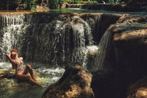 waterfall swimsuit stream beautiful scenic flow environment pose cascade nature