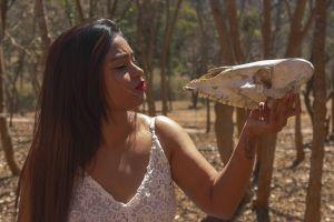 wild savanna forest dress kissing occult deer magic bride wedding