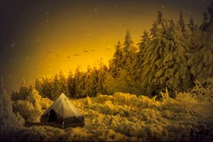 winter tent nature beautiful fantastic snow tree night