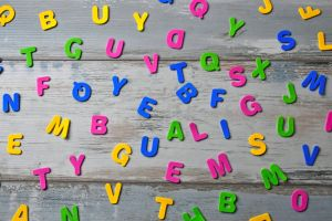 wood vertical green childhood alphabet studio education color word blue