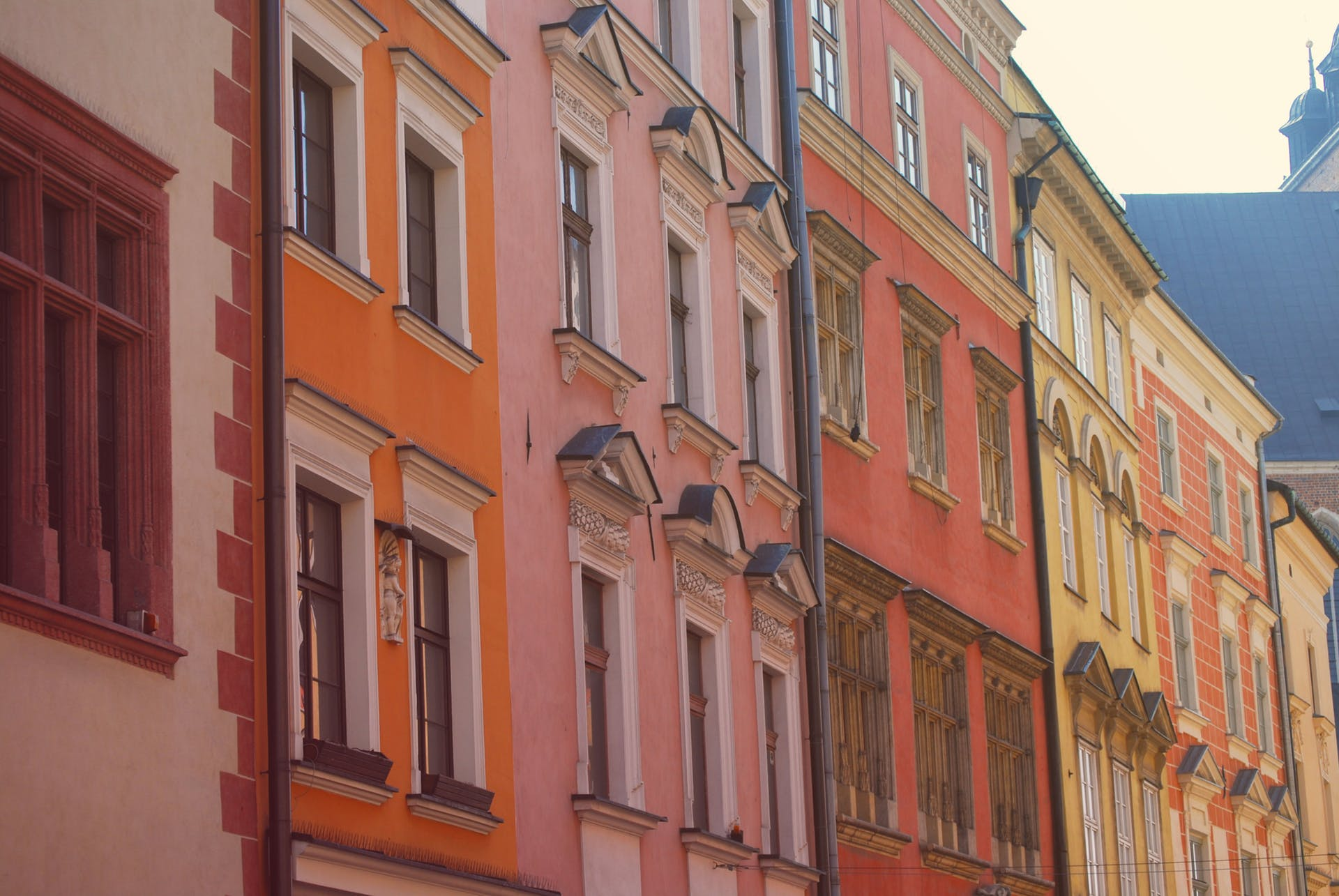 buildings poland architecture cracow windows town city facade colourful colorful