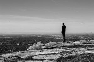 adult hill landscape man rock