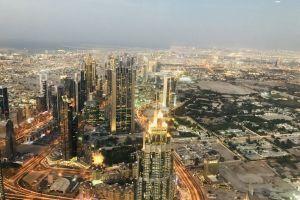 aerial sight skyline light urban illuminated town towers evening traffic