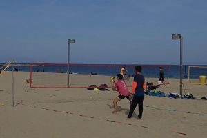 athlete seashore tennis activity sand lifestyle net active shore body