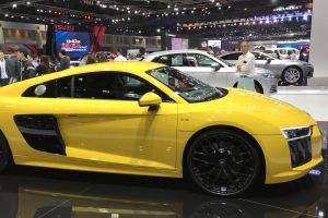 automobile yellow coupe exhibition center audi r8 international motor show automotive motor show audi car show