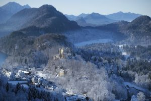 bavaria winter castle blue mountains travelling fairytale neuschwanstein castle snow europe