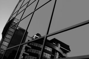 black and white black-and-white building reflection architecture