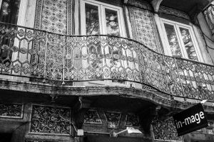 black and white city balcony iron lisbon hand made portugal