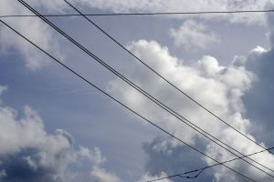 blue sky sky cloudy sky electrical wires daylight wires