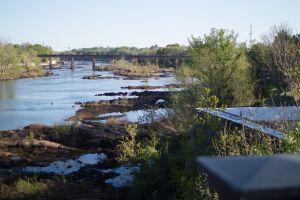 bridge body of water rocks outdoor scenery
