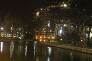bright canal night water appartments lights tropical buildings reflection light reflections