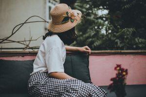 cap model enjoyment adult fashionable room wear woman vintage leisure