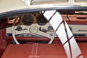 car interior transportation sports car mercedes benz roof rear view dials badge steering wheel light reflection