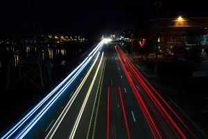 cars vehicle dark city lights light trail city night