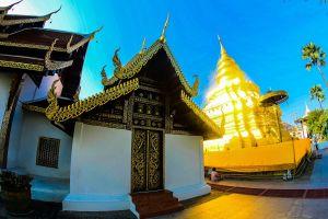 chiangmai chiang worawihan pagoda tourism temple thailand phra mai traditional