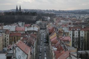 city center prague city from above