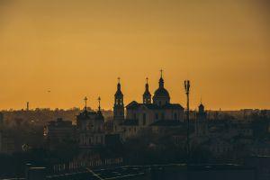 city urban cityscape tower church architecture dawn religion sacred buildings